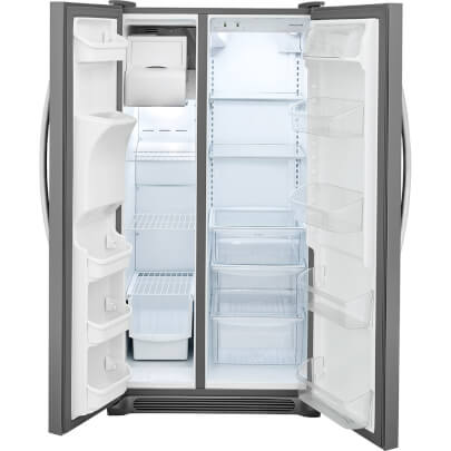 Front view of the 25.5 cubic foot stainless steel Frigidaire side-by-side refrigerator with doors open- FFSS2615TS