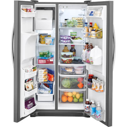 Front view of the 25.5 cubic foot stainless steel Frigidaire side-by-side refrigerator with doors open and filled with food- FFSS2615TS