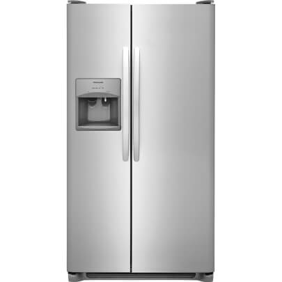 Front view of the 25.5 cubic foot stainless steel Frigidaire side-by-side refrigerator- FFSS2615TS