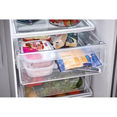 Interior view with groceries of the 25.5 cubic foot stainless steel Frigidaire side-by-side refrigerator- FFSS2615TS