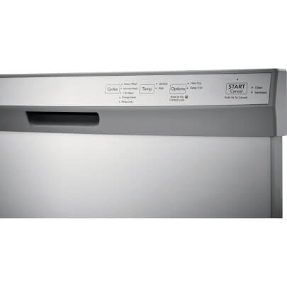 Control panel view of the 55 decibel stainless steel Frigidaire dishwasher- FFCD2418US