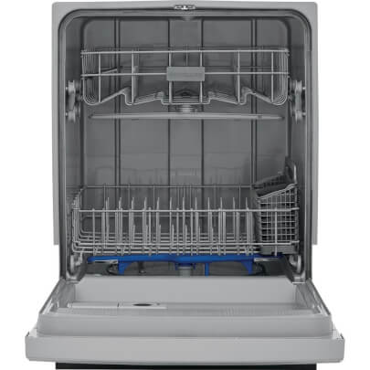 Front view with open door of the 55 decibel stainless steel Frigidaire dishwasher- FFCD2418US