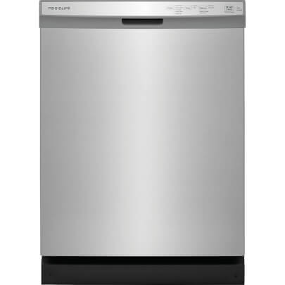 Front view of the 55 decibel stainless steel Frigidaire dishwasher- FFCD2418US