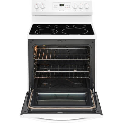 Front view with open oven door of the 5.3 cubic foot white Frigidaire electric range- FFEF3054TW
