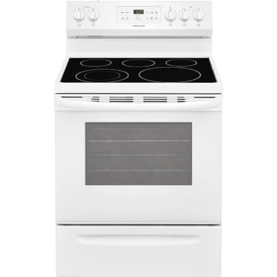 Front view of the 5.3 cubic foot white Frigidaire electric range- FFEF3054TW