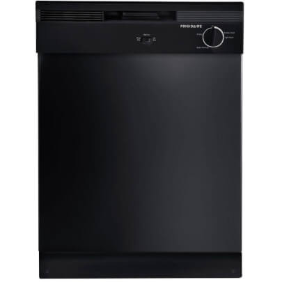 Front view of the 62 decibel Frigidaire black dishwasher- FBD2400KB