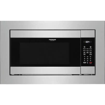 Front view of the 2.2 cubic foot stainless steel Frigidaire Gallery built-in microwave- FGMO226NUF