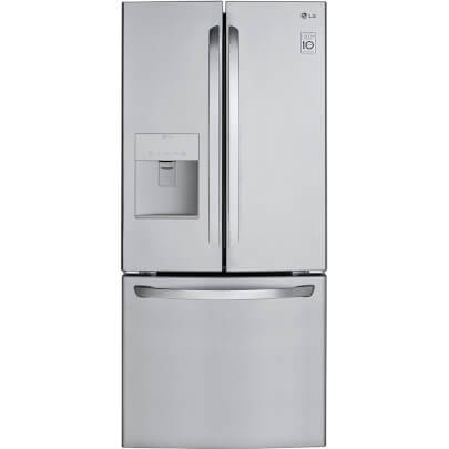Front view of LG LFDS22520S 22 cu.ft. French Door Refrigerator