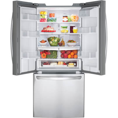 Full interior of LG LFDS22520S 22 cu.ft. French Door Refrigerator