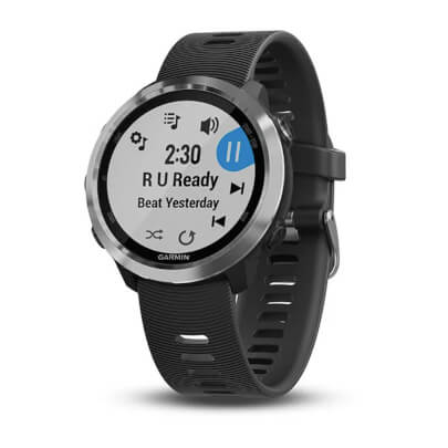 Angled front view of the black Garmin Forerunner 645 music streaming smart watch- FORERUN645MB