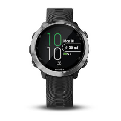 Front view of the black Garmin Forerunner 645 music streaming smart watch- FORERUN645MB