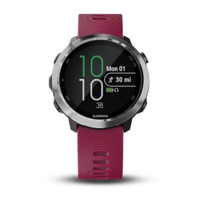 Front view of the pink Garmin Forerunner 645 music streaming smartwatch- FORERUN645MC