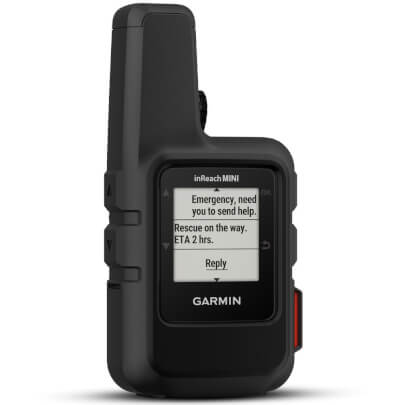 Angled front view of the black Garmin inReach Mini satellite communicator- INREACHMINIBL