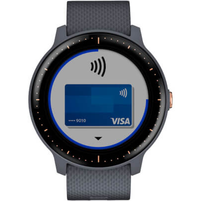 Front view of the blue and rose gold Garmin vivoactive 3 smart watch- VIVOACTIV3MB