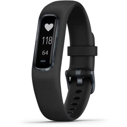 Angled front view of the black Garmin vivosmart 4 with small/medium wristband size- VIVOSMART4SB