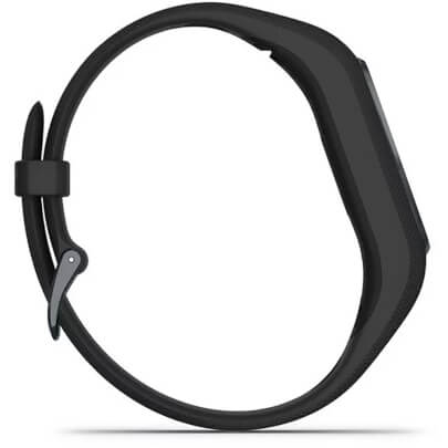 Side view of the black Garmin vivosmart 4 with small/medium wristband size- VIVOSMART4SB