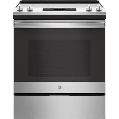 Front view of the 5.3 cubic foot stainless steel GE slide-in range- JS645SLSS