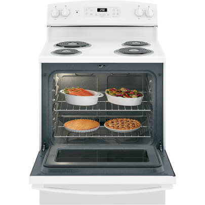 Front view with open oven door of the 5 cubic foot white GE electric coil top range- JB256DMWW
