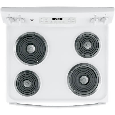 Overhead cook top view of the 5 cubic foot white GE electric coil top range- JB256DMWW