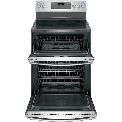 Front view with open oven door of the 6.6 cubic foot stainless steel GE double oven range- JB860SJSS