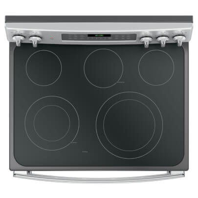 Overhead cook top view of the 6.6 cubic foot stainless steel GE double oven range- JB860SJSS