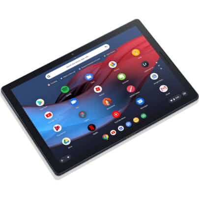 Angled front view of the midnight blue 12.3 Google Pixel Slate Chrome OS tablet specd with the Intel I5 CPU, 8GBs of RAM, 128GBS of SSD storage, and Chrome OS- GA00347US