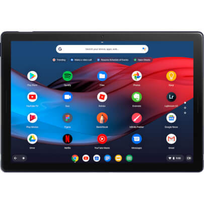 Front view of the midnight blue 12.3 Google Pixel Slate Chrome OS tablet specd with the Intel I5 CPU, 8GBs of RAM, 128GBS of SSD storage, and Chrome OS- GA00347US