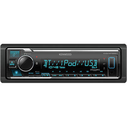 Front view of the single DIN Kenwood car radio with built-in bluetooth- KMMBT328