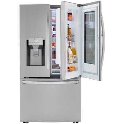 Door-in-door view of the 24 cubic foot stainless steel LG counter-depth, french door refrigerator- LRFVC2406S