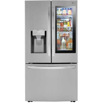 Front view of the 24 cubic foot stainless steel LG counter-depth, french door refrigerator- LRFVC2406S