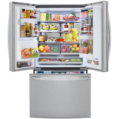 Front view with doors open of the 24 cubic foot stainless steel LG counter-depth, french door refrigerator- LRFVC2406S