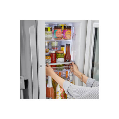Interior view of the 24 cubic foot stainless steel LG counter-depth, french door refrigerator- LRFVC2406S