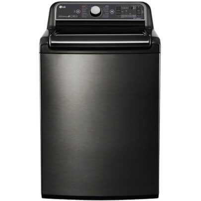 Front view of the black stainless, top load LG washer with 5.2 cubic foot capacity- WT7600HKA