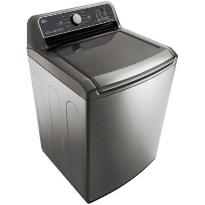 Angled front view of the graphite color LG top load washer with 5 cubic foot capacity- WT7300CV