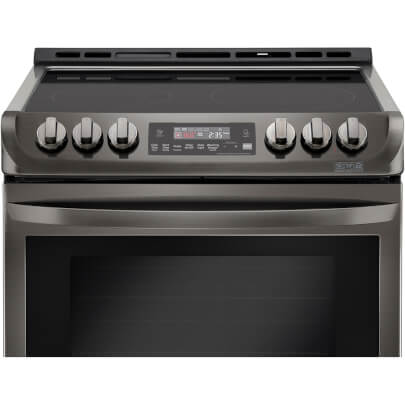 Control panel view of the 6.3 cubic foot, slide-in LG black stainless range- LSE4613BD
