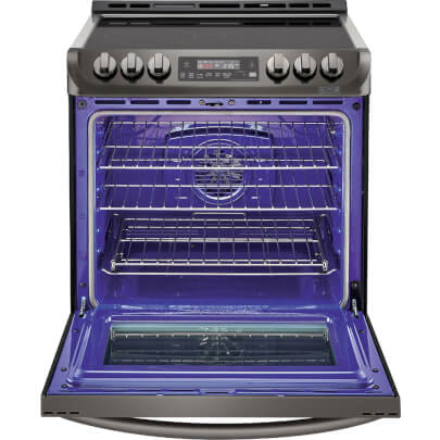 Front view with open oven door of the 6.3 cubic foot, slide-in LG black stainless range- LSE4613BD