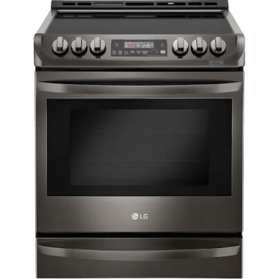 Front view of the 6.3 cubic foot, slide-in LG black stainless range- LSE4613BD