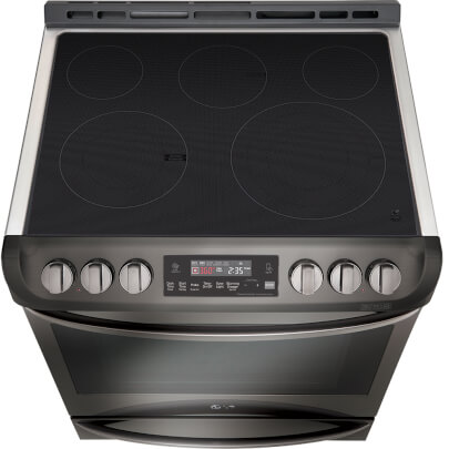Tilted overhead cook top view of the 6.3 cubic foot, slide-in LG black stainless range- LSE4613BD