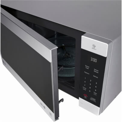 Angled overhead view with open door of the 2.0 cubic foot stainless steel LG counter top microwave- LMC2075ST