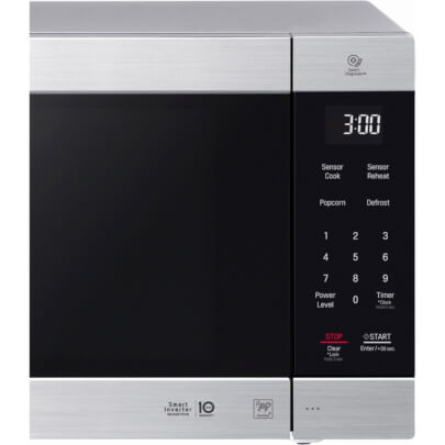 Control panel view of the 2.0 cubic foot stainless steel LG counter top microwave- LMC2075ST