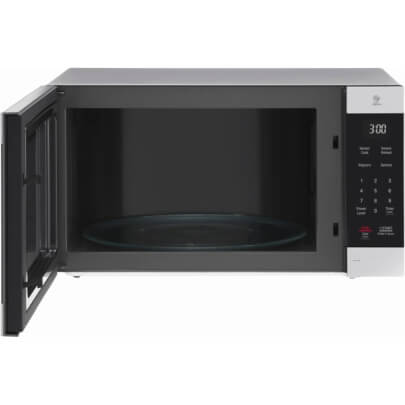 Front view with open door of the 2.0 cubic foot stainless steel LG counter top microwave- LMC2075ST