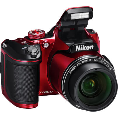 Angled front view of the red Nikon Coolpix 16 mega-pixel digital camera- B500RD