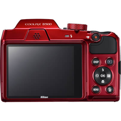 Back view of the red Nikon Coolpix 16 mega-pixel digital camera- B500RD