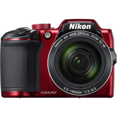 Front view of the red Nikon Coolpix 16 mega-pixel digital camera- B500RD