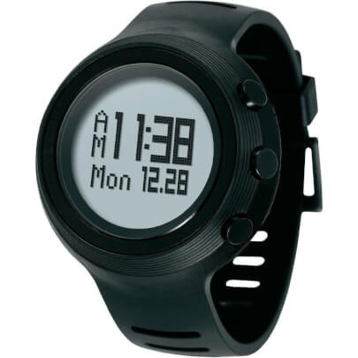 Angled front view of the black Oregon Scientific fitness smart watch- RA900SLV