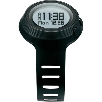 Front view of the black Oregon Scientific fitness smart watch- RA900SLV
