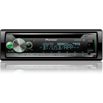 Front view of the single DIN Pioneer CD car radio with built-in bluetooth- DEHS5200