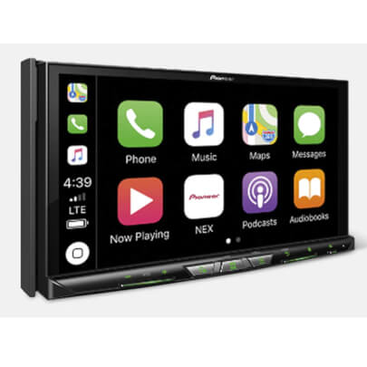 Angled front view of the double din Pioneer AV receiver specd with a 7 inch touchscreen, Apple Carplay, bluetooth, and a 13 band equalizer- AVICW8500