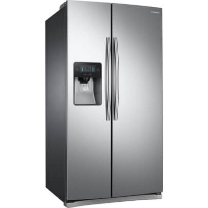 Angled front view of the 24.52 cubic foot stainless steel Samsung side-by-side refrigerator- RS25J500DSR