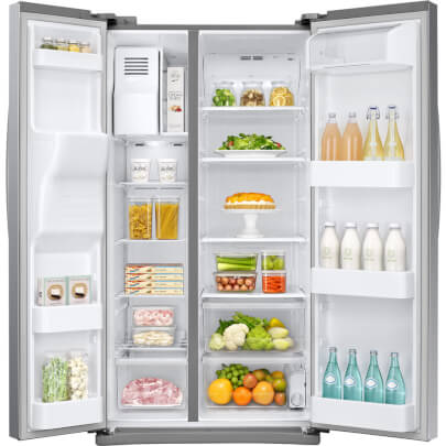 Front view of the 24.52 cubic foot stainless steel Samsung side-by-side refrigerator with open doors and full of food- RS25J500DSR